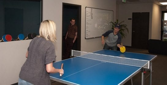 Ian and Laura Playing Ping Pong