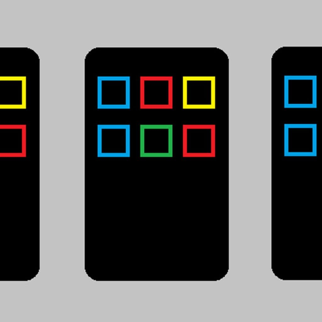 Three mobile phones lie in a row. Six apps, presented as multi-colored boxes, are arranged in two rows of three.