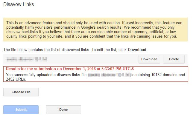 google search console disavow screen