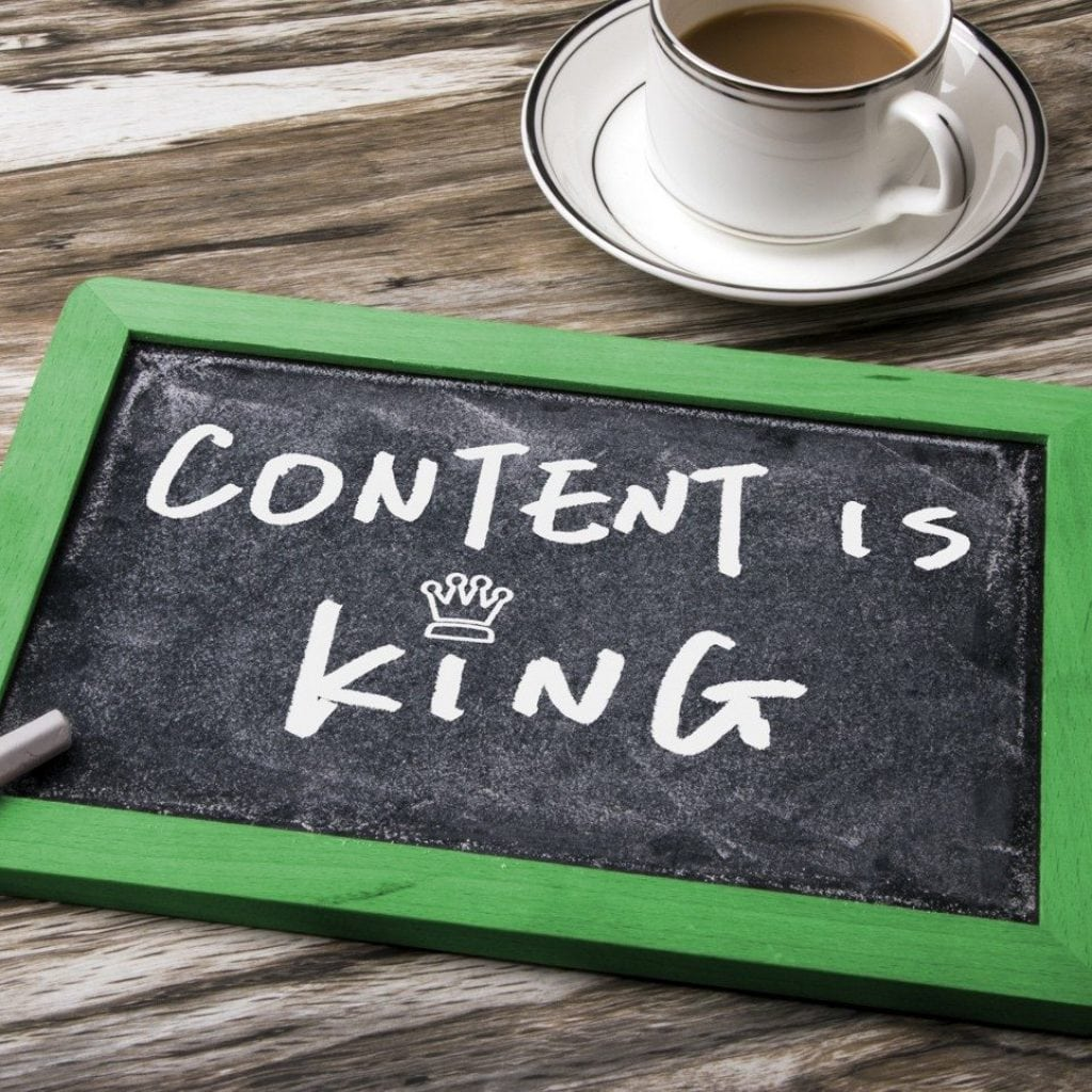 "Chalkboard with ""Content is King"" written on it"