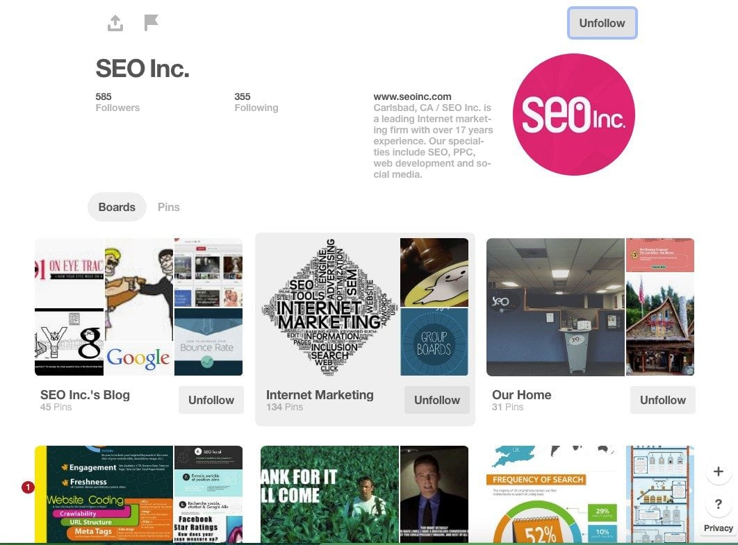 SEO Inc's Pinterest Home Page