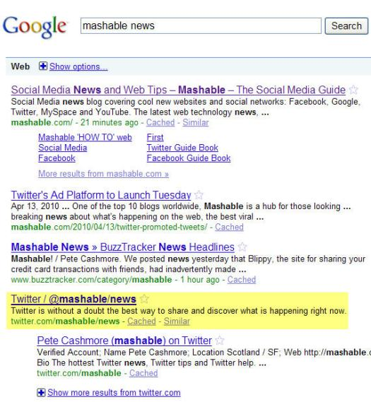 Mashable News Twitter List Results
