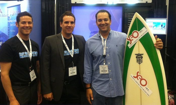 In picture: John E Lincoln, Dir SEO Consulting & Social, Brad Lipschultz, COO and the lucky winner of the surfboard drawing! Congrads on winner the board!