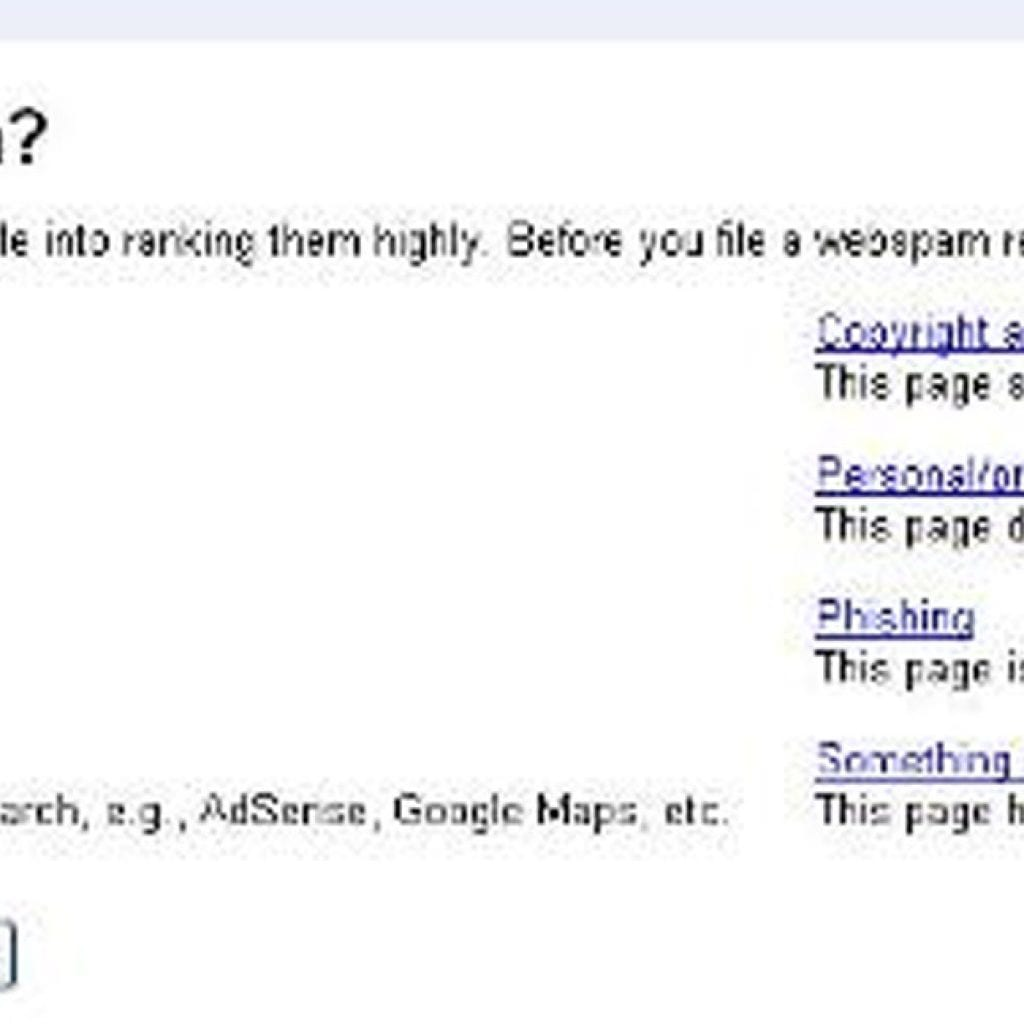 Google Spam Report Update to Webmaster Tools