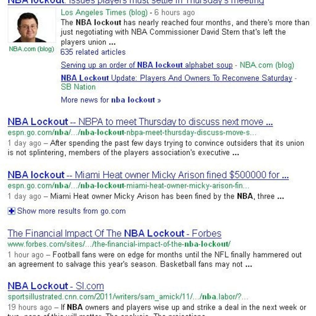 NBA Example Google Freshness Update