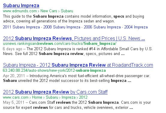 Subaru Example Google Freshness Update