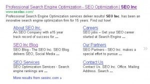 Example Sitelinks for SEO Inc