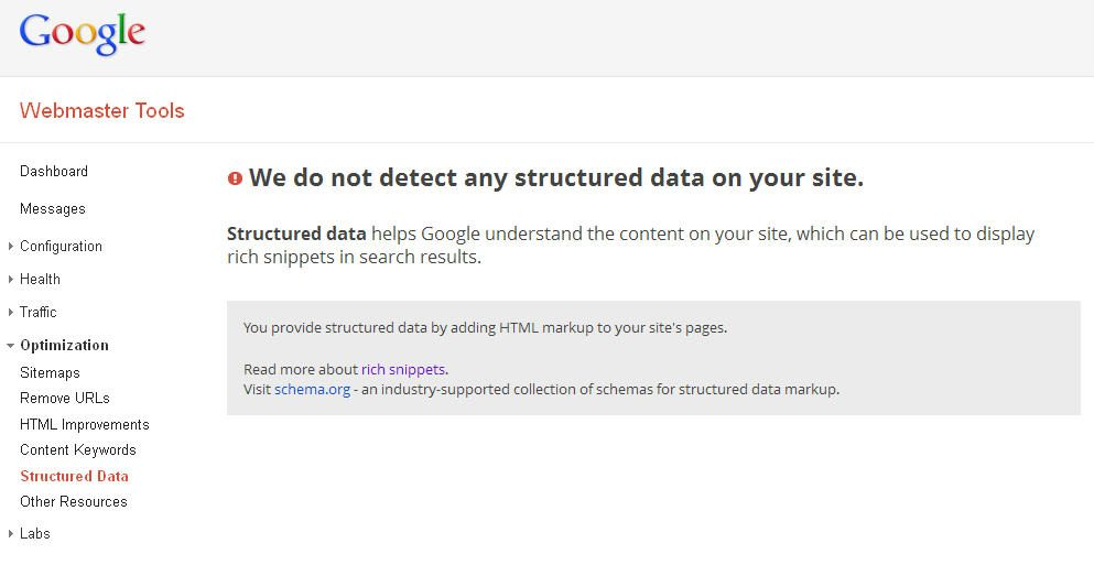 Google Structured Data Tab for Tracking Structured Data Markup