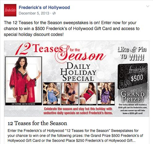 Frederick's of Hollywood 12 Teases for the Season
