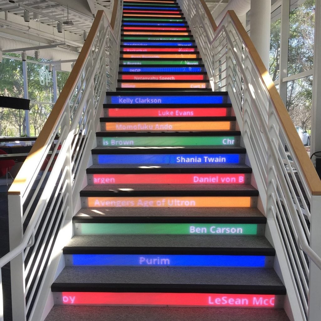The Google staircase: a set of stairs with common search trends scrolling on its steps.