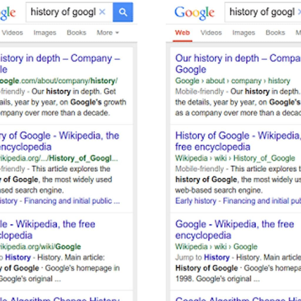 Side-by-side look at Google's search results. The left shows the old format; the right shows the new.
