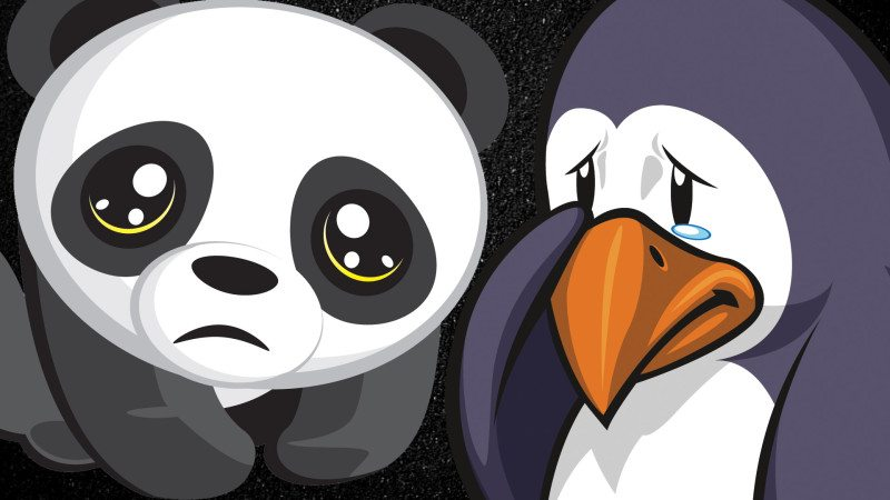 A teary-eyed panda and penguin.