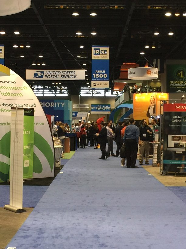A photo of the booths on the IRCE Exhibit Hall.