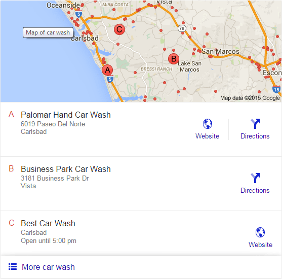 "The new ""Google 3 Pack,"" which shows 3 local business listings instead of 7."