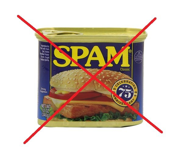 A can of spam, crossed out.