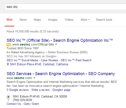 Search results showing SEO Inc. in the top spots for both organic and paid search results.