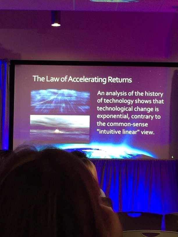 "Slideshow from the Google Partners Summit entitled ""The Law of Accelerating Returns."" The rest of it reads, ""An analysis of the history of technology shows that technological change is exponential, contrary to the common sense ""intuitive linear"" view."