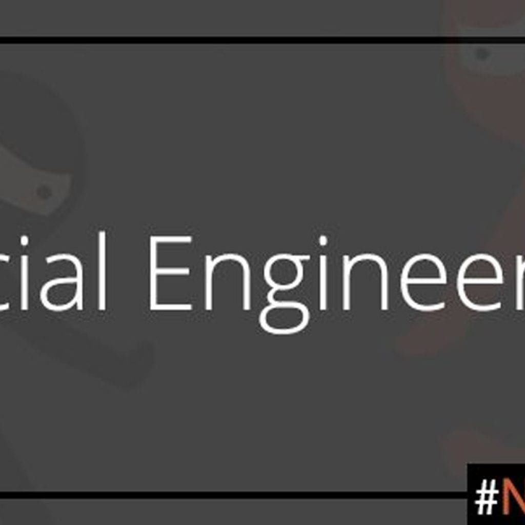 "An image for Google's #NoHacked campaign: The words ""Social Engineering"" in white in the foreground, with black and orange ninjas in the background."