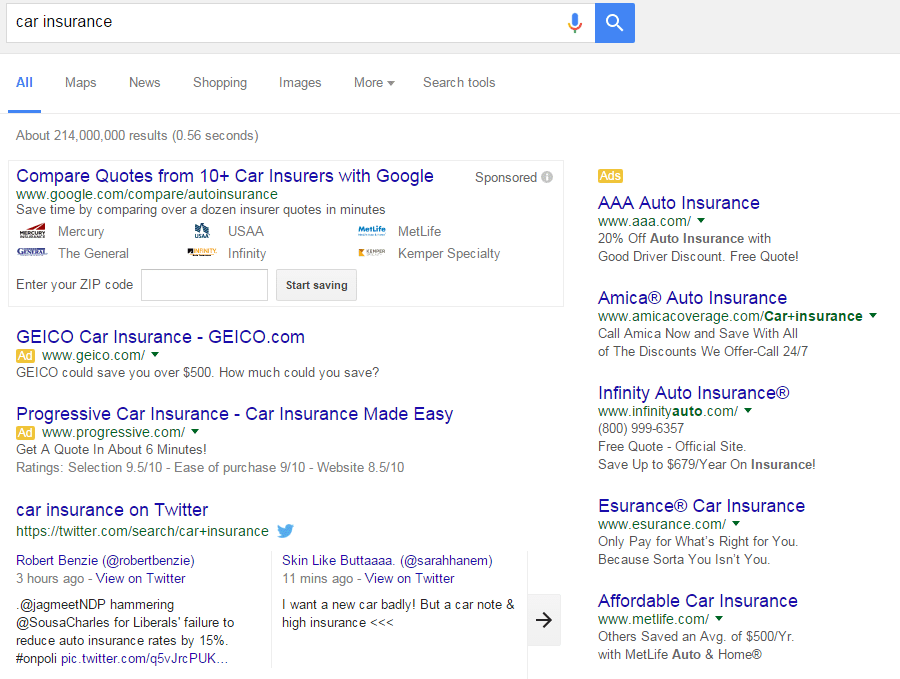 The change from three to four Google ads on top is still rolling-out.