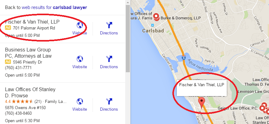 Local advertising does not get a pin on the Google map, unlike the natural results.