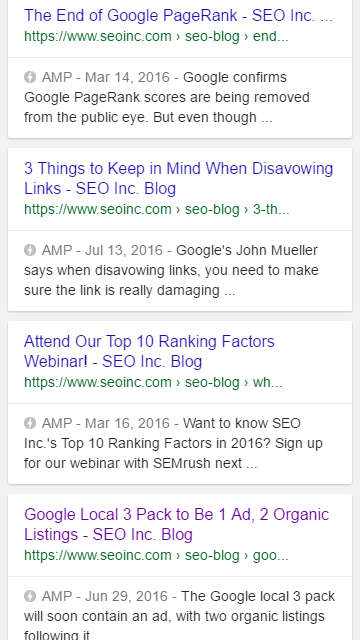 Google's new AMP preview shows AMP pages and normal pages across the entire search results page.