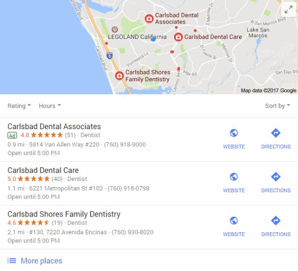 Local Map Pack Ad - Dentist Search Carlsbad