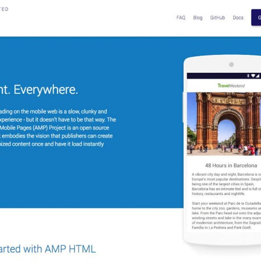 Google Accelerated Mobile Pages Preview