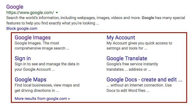 Google site links example