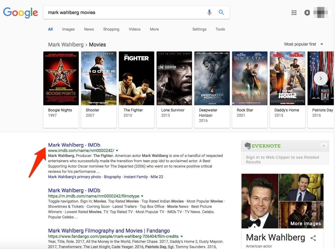 """SERP for """"Mark Wahlberg Movies"""""""