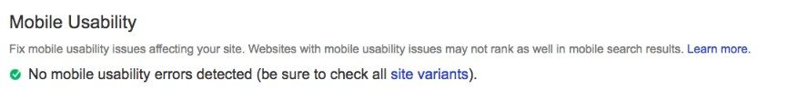 Mobile Usability in Google Search Console with no errors detected