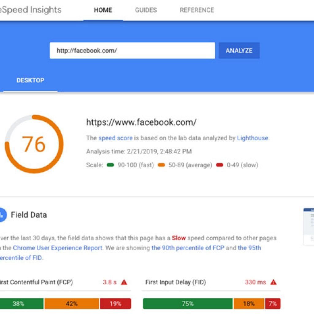 Facebook Page Speed Resuts are a 76 out of 100 image