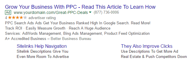 Example PPC Google Search Text Ad